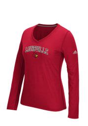 Adidas Louisville Cardinals Womens Red Practice Athletics Long Sleeve T-Shirt