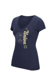 Adidas Philadelphia Union Womens Navy Blue Veritcal Shift V-Neck T-Shirt