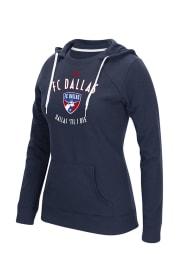 Adidas FC Dallas Womens Navy Blue Arched Gel Hooded Sweatshirt