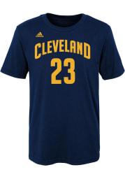 LeBron James Cleveland Cavaliers Boys Navy Blue Screen Print Short Sleeve T-Shirt