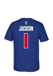 Reggie Jackson Detroit Pistons Blue Player Name and Number Short Sleeve Player T Shirt