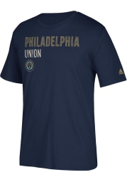 Adidas Philadelphia Union Navy Blue Triline Locale Short Sleeve T Shirt