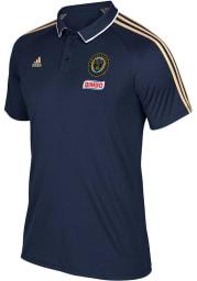 Adidas Philadelphia Union Mens Navy Blue Coaches Short Sleeve Polo