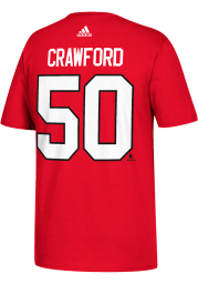 Corey Crawford Chicago Blackhawks Red Name and Number Short Sleeve Player T Shirt