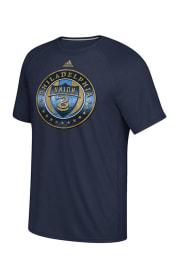 Adidas Philadelphia Union Navy Blue screen print Short Sleeve T Shirt