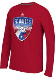 Adidas FC Dallas Red screen print Long Sleeve T-Shirt