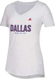 Adidas FC Dallas Womens White Over Inked V-Neck T-Shirt