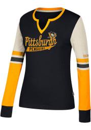 Adidas Pittsburgh Penguins Womens Black CCM Henley Long Sleeve T-Shirt