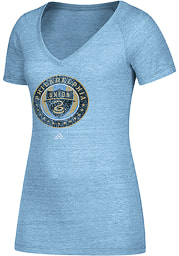 Adidas Philadelphia Union Womens Light Blue Primary Logo V-Neck T-Shirt