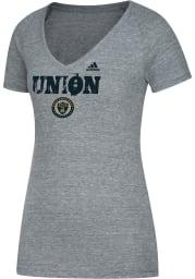 Adidas Philadelphia Union Womens Grey Roughed Up V-Neck T-Shirt