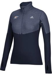 Adidas OKC Womens Navy Blue Logo Heat 1/4 Zip Pullover