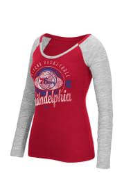 Philadelphia Womens Red Script Long Sleeve Scoop Neck