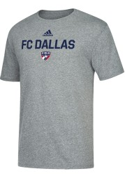 Adidas FC Dallas Grey Locker Stacked Short Sleeve Fashion T Shirt