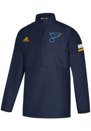 Adidas St Louis Blues Mens Navy Blue Game Mode Long Sleeve 1/4 Zip Pullover