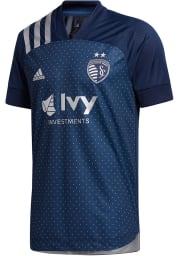 Sporting Kansas City Mens Adidas Authentic Soccer 2020 Secondary Jersey - Navy Blue