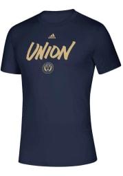 Adidas Philadelphia Union Navy Blue Wordmark Goals Short Sleeve T Shirt