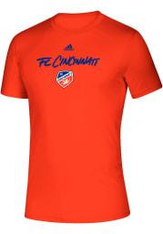 Adidas FC Cincinnati Orange Wordmark Goals Short Sleeve T Shirt
