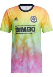 Adidas Philadelphia Union Mens Blue Pride Pre Match Soccer Jersey