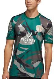 Adidas Sporting Kansas City Mens Green Camo Pre Match Soccer Jersey