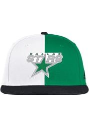 Adidas Dallas Stars White Reverse Retro Flat Brim Mens Snapback Hat