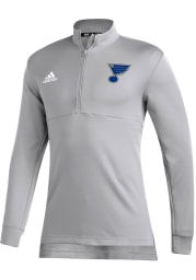 Adidas St Louis Blues Mens Grey Left Wing Long Sleeve 1/4 Zip Pullover
