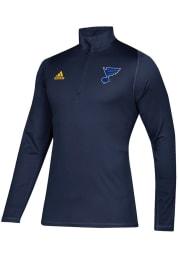 Adidas St Louis Blues Mens Navy Blue Freelift Long Sleeve 1/4 Zip Pullover