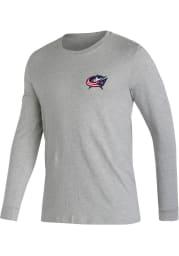 Adidas Columbus Blue Jackets Grey Jersey History Long Sleeve T Shirt