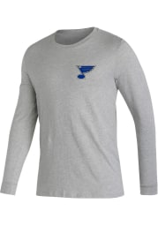 Adidas St Louis Blues Grey Jersey History Long Sleeve T Shirt