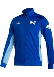 Adidas Kansas Jayhawks Mens Blue Sideline Reverse Retro Long Sleeve 1/4 Zip Pullover