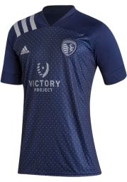 Sporting Kansas City Mens Adidas Replica Soccer Secondary Jersey - Navy Blue