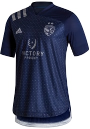 Sporting Kansas City Mens Adidas Authentic Soccer Secondary Jersey - Navy Blue