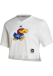 Kansas Jayhawks Womens Adidas Graphic Crop Fashion Football Jersey - White
