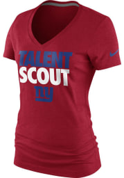 Nike New York Giants Womens Red Talent Scout V-Neck T-Shirt