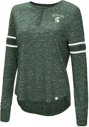 Colosseum Michigan State Spartans Womens Green Stag Leap Henley LS Tee