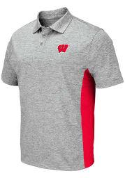 Colosseum Wisconsin Badgers Mens Grey Alaska Short Sleeve Polo