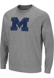 Colosseum Michigan Wolverines Mens Grey Henry French Terry Long Sleeve Crew Sweatshirt