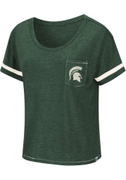 Colosseum Michigan State Spartans Womens Green Waffles Meet Greet Scoop Short Sleeve T-Shirt