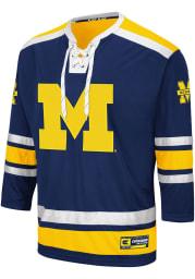 Colosseum Michigan Wolverines Mens Navy Blue Brobibs Hockey Jersey