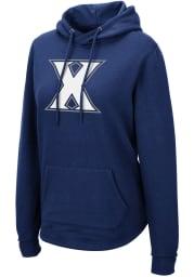 Colosseum Xavier Musketeers Womens Navy Blue Crossover Hooded Sweatshirt