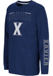 Colosseum Xavier Musketeers Youth Navy Blue West Long Sleeve T-Shirt