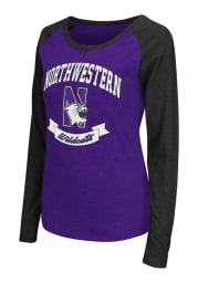 Colosseum Northwestern Wildcats Womens Purple Healy Long Sleeve Scoop Neck