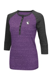Colosseum Northwestern Wildcats Womens Purple Split Long Sleeve Scoop Neck
