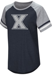 Colosseum Xavier Musketeers Womens Navy Blue Blue Sox Short Sleeve T-Shirt