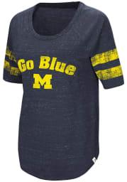 Colosseum Michigan Womens Navy Blue Bean Babbit Long Sleeve Scoop Neck