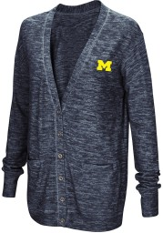 Colosseum Michigan Wolverines Womens Navy Blue Had Me At Hello Long Sleeve Cardigan