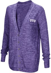Colosseum TCU Horned Frogs Womens Purple Had Me At Hello Long Sleeve Cardigan