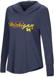 Colosseum Michigan Wolverines Womens Navy Blue I Stick Hooded Sweatshirt