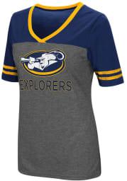 Colosseum La Salle Explorers Womens Grey McTwist V-Neck T-Shirt