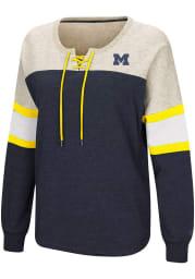 Colosseum Michigan Wolverines Womens Navy Blue Become Great Crew Sweatshirt