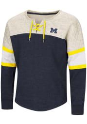 Colosseum Michigan Wolverines Girls Navy Blue Ice Box Long Sleeve Sweatshirt